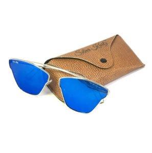 Silver Kartz Blue Stylish Unisex Aviator Sunglasses