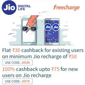 Freechare Upto 100 Cashback on Jio Recharge