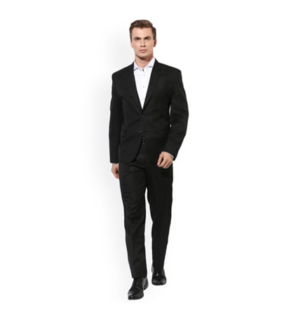 Hangup Black Single Breasted Regular Fit Formal Suit