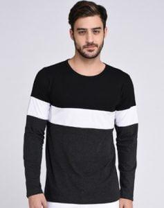 Rigo Black with White Striped Round Neck T-Shirt