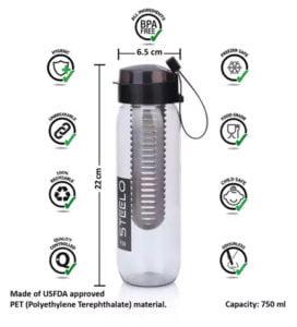 Steelo 750 ML Sante Infuser Water Bottle in Rs. 99