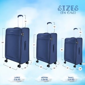 Nasher Miles 3 Navy Blue Luggage Bags Trolley