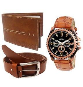 XPRA Analog Watch Leather Belt Wallet Combo