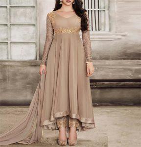 Beige Georgette Semi Stitched Anarkali Suit