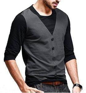 Seven Rocks Mens Waist Coat Style Cotton Black Tshirt