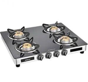 4 burner SS Manual ignition Sunflame Diamond gas stove