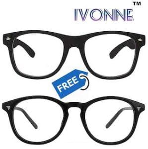 Ivonne ARC Coated Clear Wayfarer Sunglass With Free Round Clear Sunglass