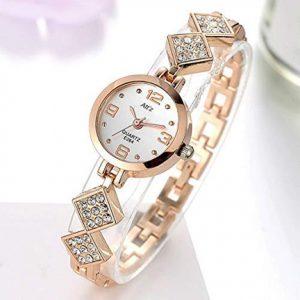 Attz Peach Color Diamond Studded Analog Watch For Womens Girls