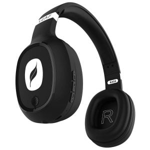 Leaf Bass Wireless Bluetooth Headphones with Hi Fi Mic and 10 Hours Battery Life Over Ear Headphones with Super Soft Cushions and Deep Bass Carbon Blac