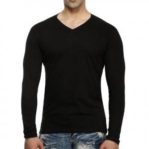 Pure Blank Men's V-Neck Full Sleeve Black Cotton T-Shirt
