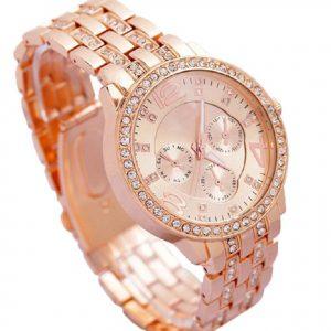 Geneva Platinum Analog Rose Gold Dial Watch For Women