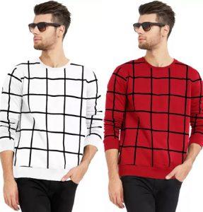 Designer Checkered Men Round Neck Linning T-Shirt