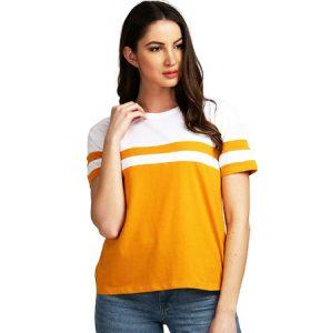 AELOMART Womens Cotton Mustard Half Sleeve Top
