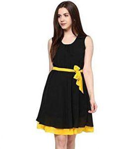 Black and Yellow Cotton Stitched Kurti Lightning Sale