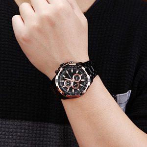 Tungsten Steel Precision Vogue Black Gold Waterproof Men's Watch