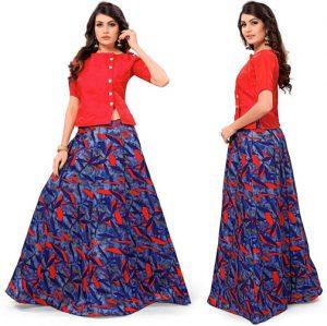 Florence Designer Satin Silk Floral Print Lehengha Choli For Women