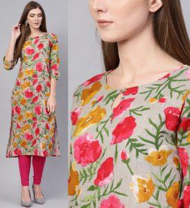 Women Grey & Pink Floral Pattern Print Straight Kurta