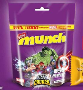 Win Rs. 1000 MARVEL Merchandise Voucher With Munch Chocolate