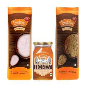 Free Sample of Organic Pack of Honey, Salt and Jaggery Powder